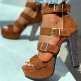 Susiecloths Eyelet Buckled Open Toe Chunky Heeled Sandals