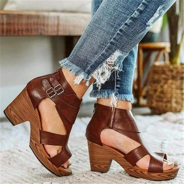 Susiecloths Zipper Chunky Heel Sandals Adjustable Buckle Vintage Heels