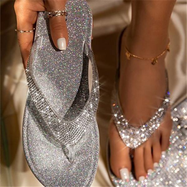 Susiecloths Silver Summer Artificial Leather Rhinestone Seaside Slippers
