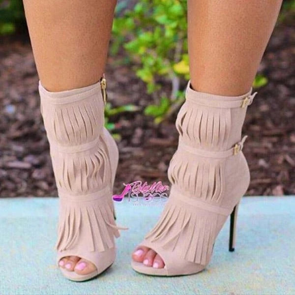 Susiecloth Tassel Zipper Fashion High Heels