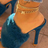 Susiecloths Suede Fashion Fur High Heel Sandals