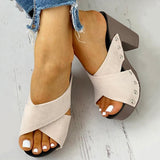 Susiecloths Crisscross Design Chunky Heeled Slippers
