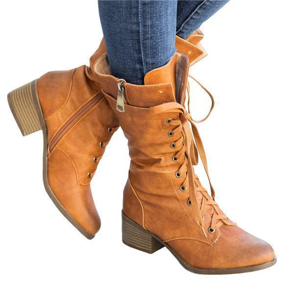 Susiecloths Women's Lace Up Mid Calf Combat Boots