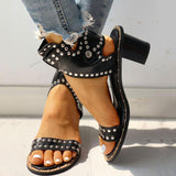 Susiecloths Open Toe Rivet Chunky Heeled Sandals For Women