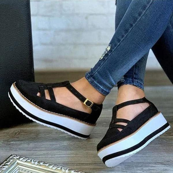 Susiecloths Buckle Strap Creepers T-Strap Sandals