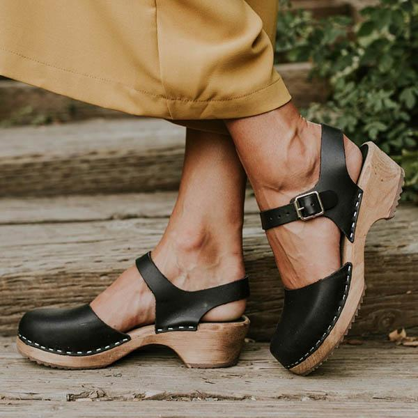 Susiecloths Ankle Strap Chunky Heel Low Platform Sandals