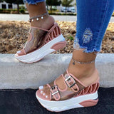 Susiecloths Wedge Heel Buckle Straps Sandals