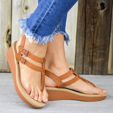Susiecloths Adjustable Buckle T-Strap Wedge Sandals