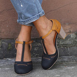 Susiecloths Women Vintage Color Block Sandals Casual Chunky Heel Buckle Shoes