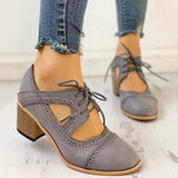 Susiecloths Lace-Up Cut Out Chunky Heels
