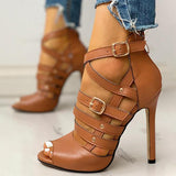 Susiecloths Solid Hollow Out Ankle Strap Thin Heeled Sandals