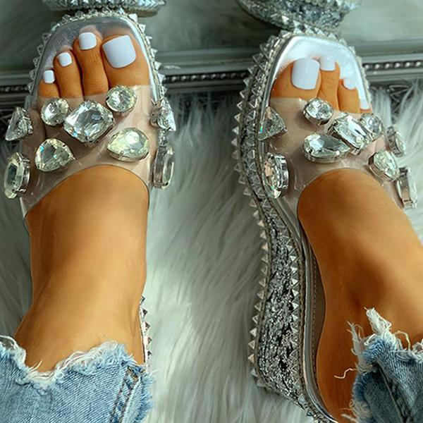 Susiecloths Open Toe Studded Rivet Heeled Sandals