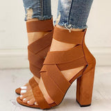 Susiecloths Bandage Crisscross Chunky Heeled Sandals