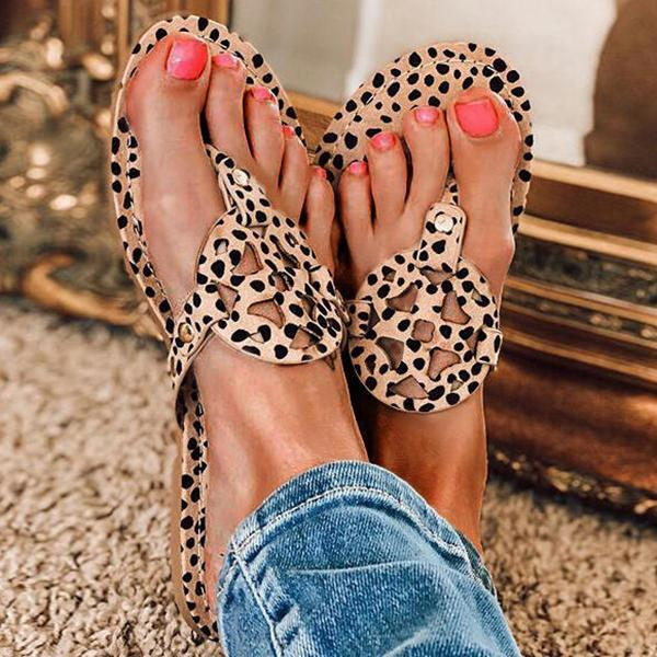 Susiecloths Leopard Printed Hollow Out Beach Slippers
