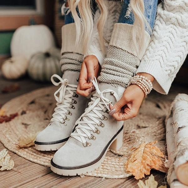 Susiecloth Platform Lightweight Ankle Lace-Up Boots