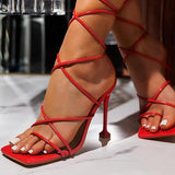 Susiecloths Around-The-Ankle Lace-Up Closure Open Squared Toe Heels