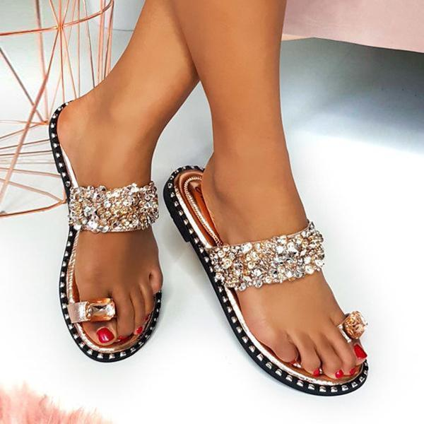 Susiecloths Fashion Embellished Shiny Open Toe Slippers