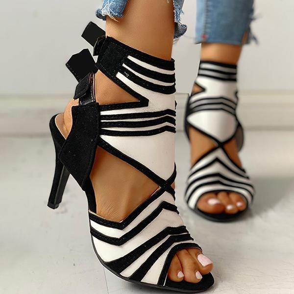 Susiecloths Colorblock Striped Peep Toe Thin Heeled Heels