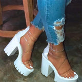 Susiecloths Chunky Heel Zipper Open Toe Strappy See-Through Sandals