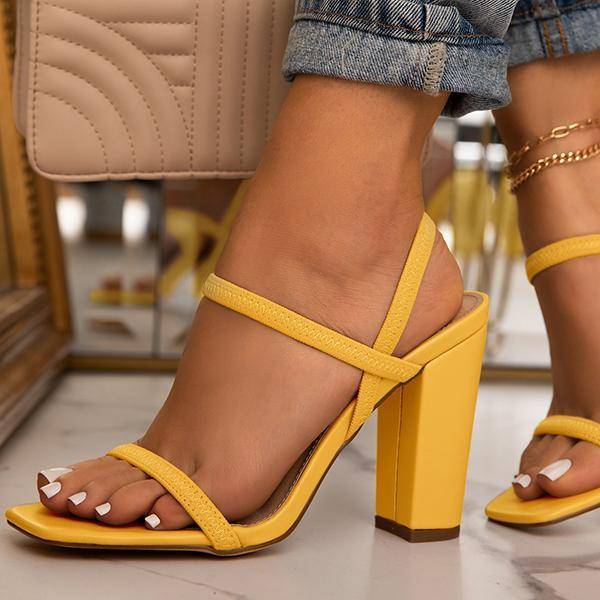 Susiecloths Elastic Straps Squared Toe Chunky Heels