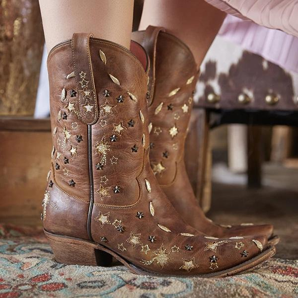 Susiecloths Vintage Star-Studded Embroidered Ankle Boots