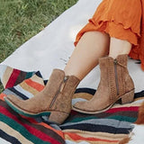 Susiecloths Vintage Braided Accents Dual Zipper Ankle Boots