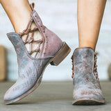 Susiecloths Elegant Casual Short Heel Distressed Genuine Leather Bootie