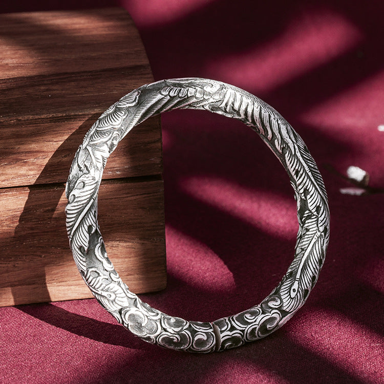 Flying Phoenix With Peony Pure 999 Silver Bangle (3)