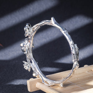 Plum Blossom Pure 999 Silver Bangle (26)