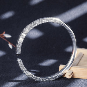 Half Carving Ancient Totem Pure 999 Silver Bangle (38)