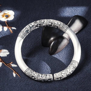 Vintage Style Pure 999 Silver Bangle (37)