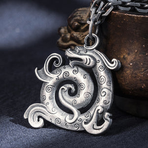 Hollow Signet Dragon Pure 999 Silver Pendant (4)
