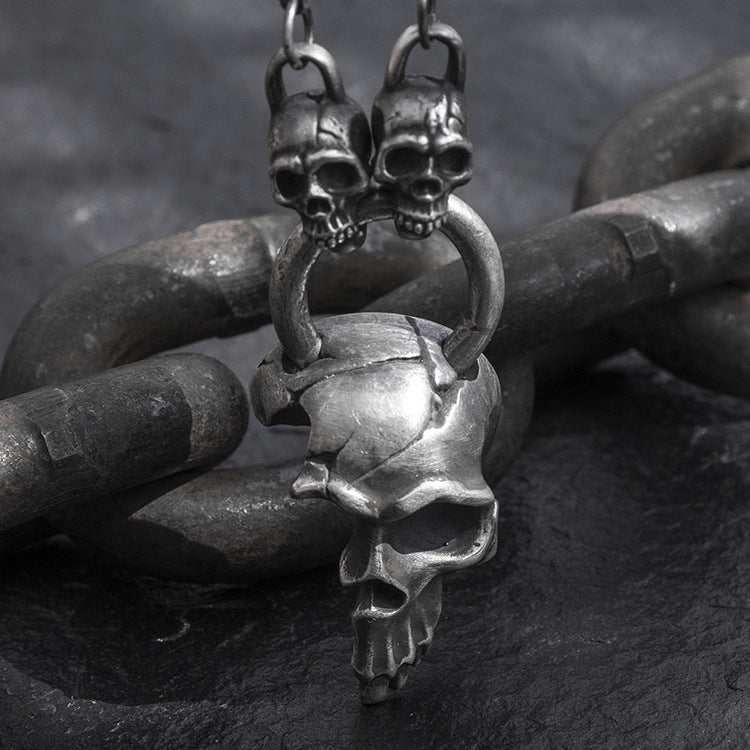 Large Half Face Skull Pure 999 Silver Pendant (Chain Included)
