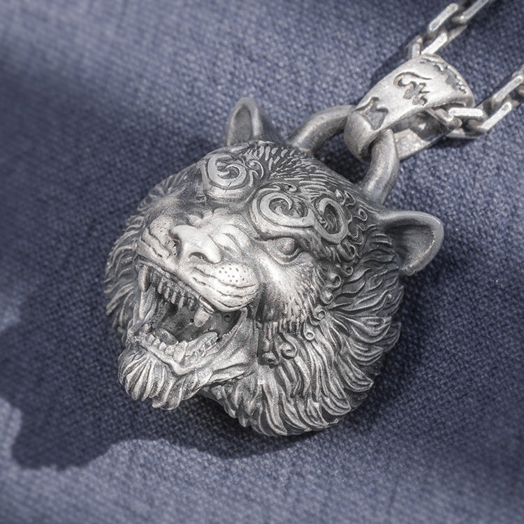 Fury Tiger Head Pure 999 Silver Pendant