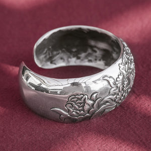 Large Peony Flower Pure 999 Silver Bangle (99)