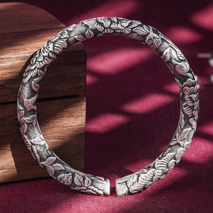 Magpie & Flower Pure 999 Silver Bangle (30)