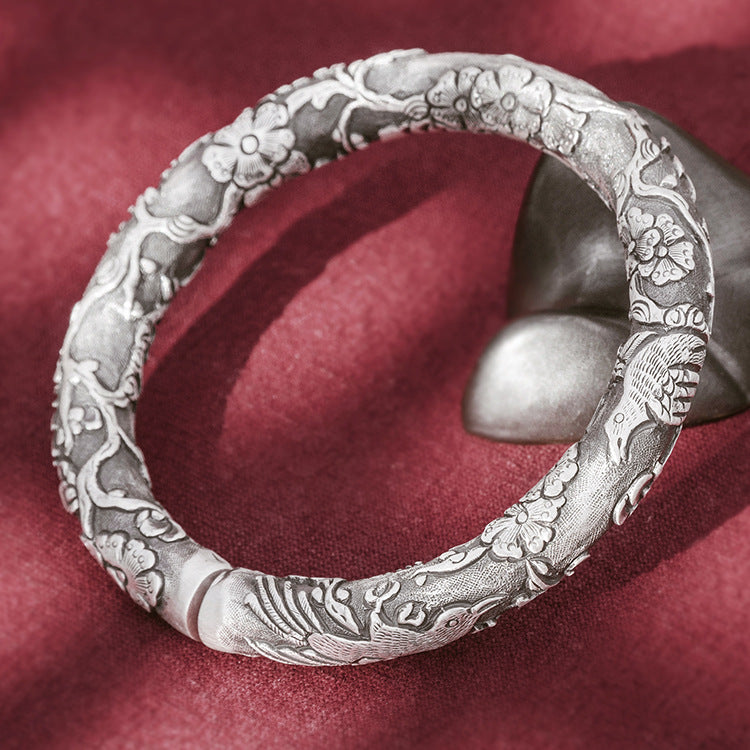 Magpie With Plum Blossom Pure 999 Silver Bangle (12)