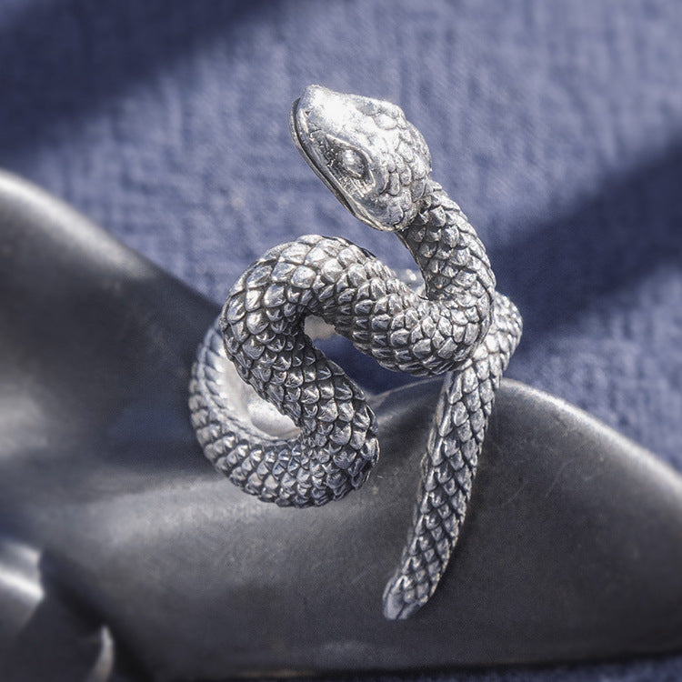 Long Snake Pure  999 Silver Ring