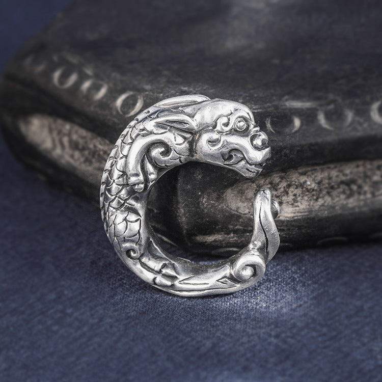 Dragon Shape Pure 999 Silver Ring