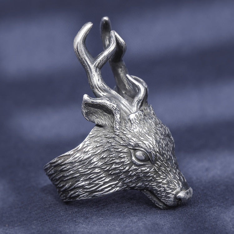 Deer Head Pure 999 Silver Ring