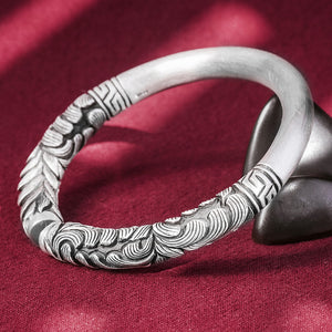 Vintage Pattern Pure 999 Silver Bangle (77)