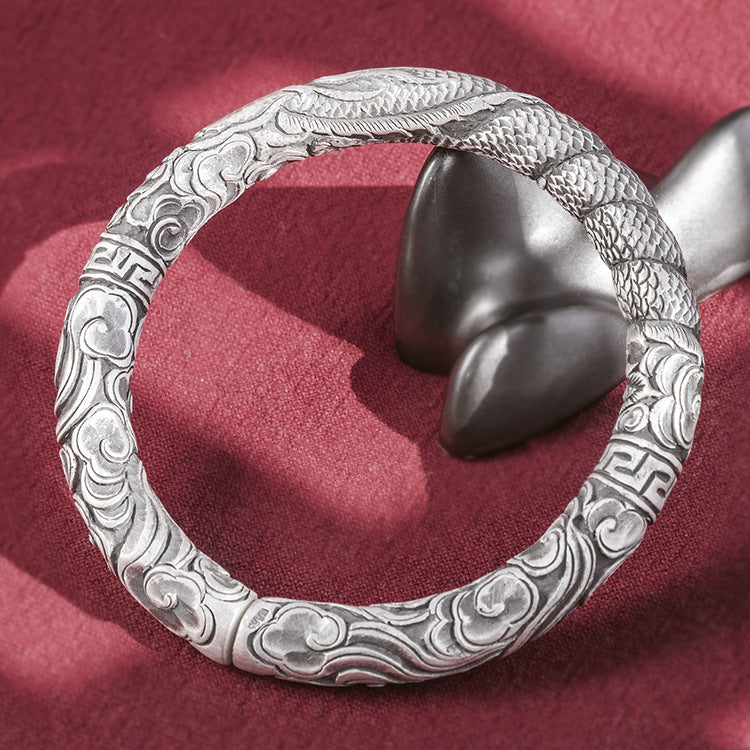 Drgaon With Cloud Pure 999 Silver Bangle (45)