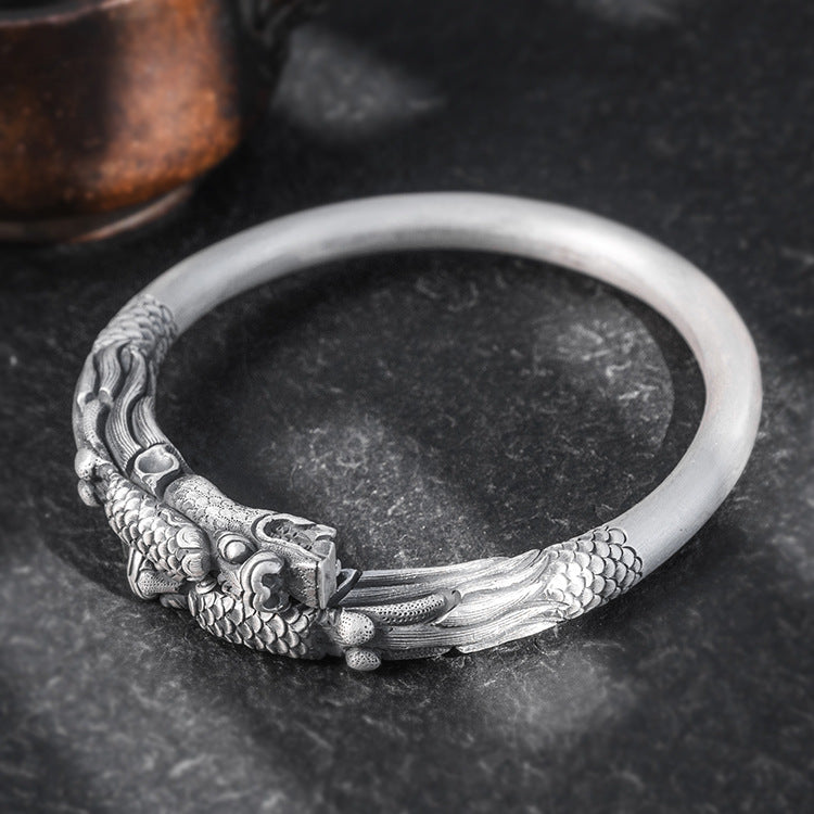Two Dragon Pure 999 Silver Bangle (44)