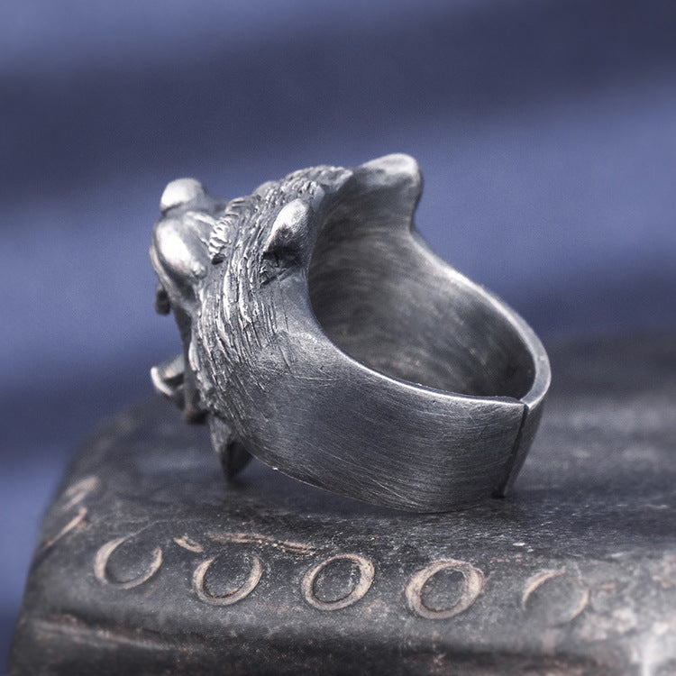 Bear Head Pure 999 Silver Ring