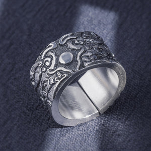Index Finger Dragon Pattern Pure 999 Silver Ring