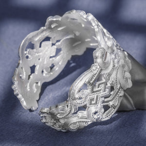 Vintage Flower Pure 999 Silver Bangle (23)