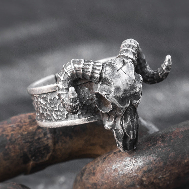 Ram Skull Head Pure 999 Silver Ring