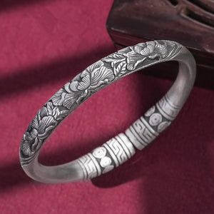 Peony Flower Pure 999 Silver Bangle (31)