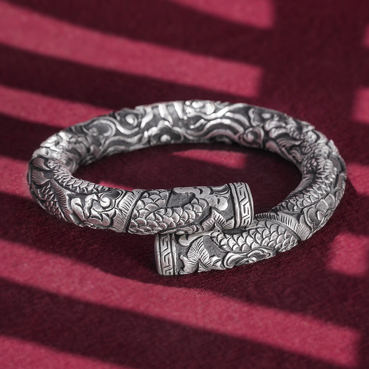 Two Dragons Pure 999 Silver Bangle (16)