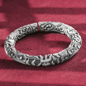 Phoenix & Peony Flower Pure 999 Silver Bangle (53)